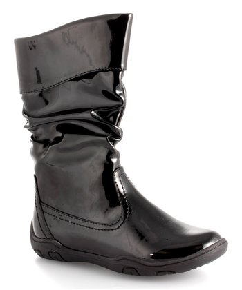 Black Patent Slouch Boot - Kids