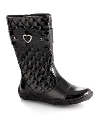Black Patent Heart Quilted Boot - Girls