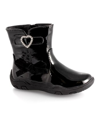 Black Patent Heart Ankle Boot - Kids