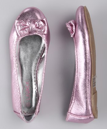 Pink Metallic Bow Flat - Kids