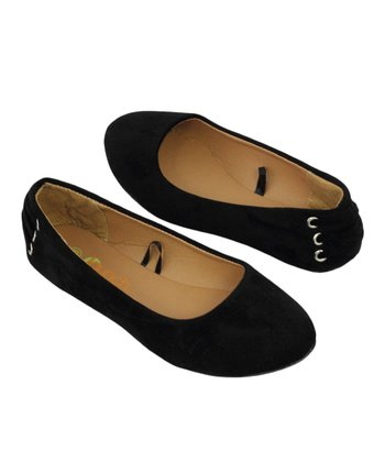 Black Faux Suede Flat - Girls