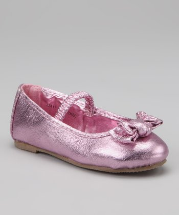 Pink Metallic Strap Bow Flat - Kids