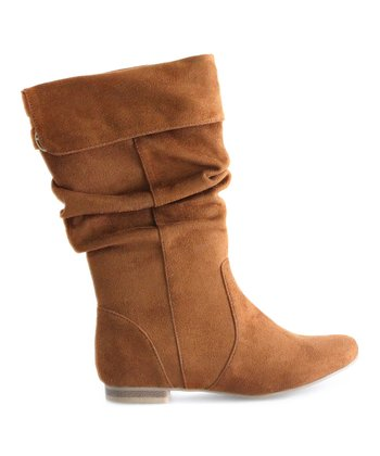 Tan Slouch Boot - Kids