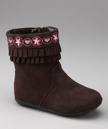 Brown Embroidered Ruffle Boot