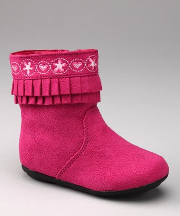 Pink Embroidered Ruffle Boot