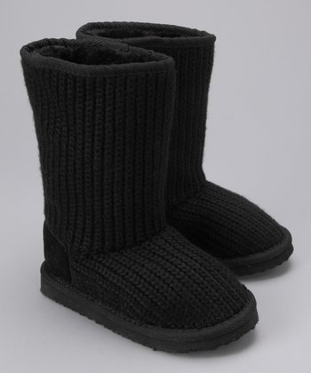 Launch Black Ribbed Knit Boot