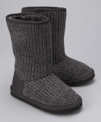 Gray Ribbed Knit Boot