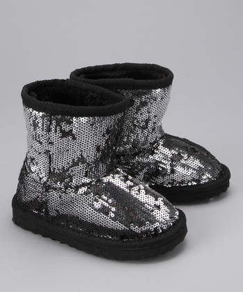 Black Glitter Boot - Girls