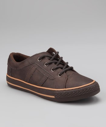 Brown Faux Leather Sneaker