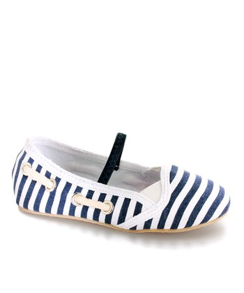 Launch Navy & White Stripe Flat - Kids