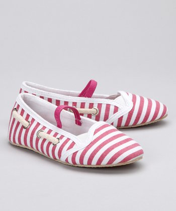 Pink & White Stripe Flat
