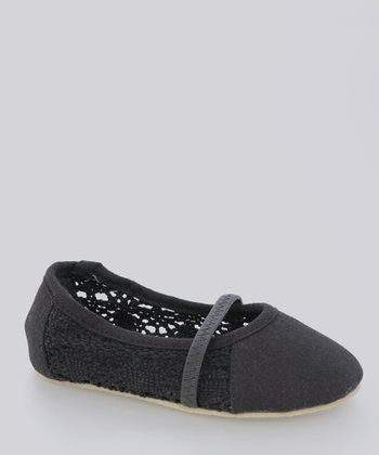 Black Perforated Flat - Kids