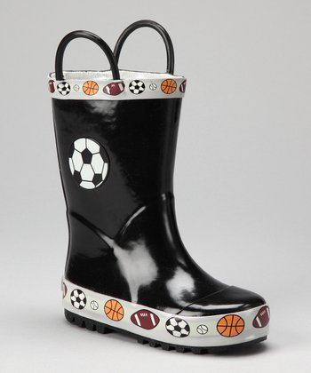 Black Soccer Rain Boot