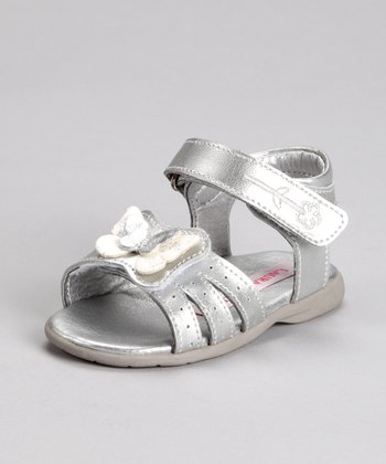 Laura Ashley Silver & White Butterfly Sandal