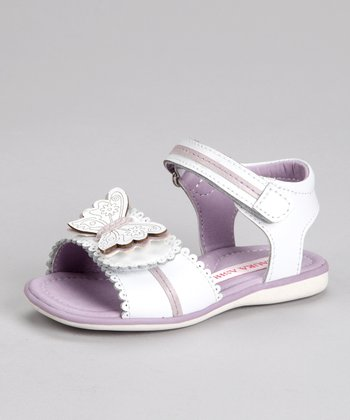 Laura Ashley White & Purple Butterfly Sandal