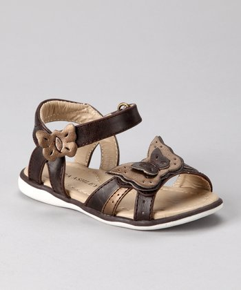 Laura Ashley Brown Metallic Butterfly Sandal
