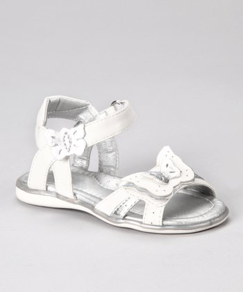 Laura Ashley White & Silver Butterfly Sandal