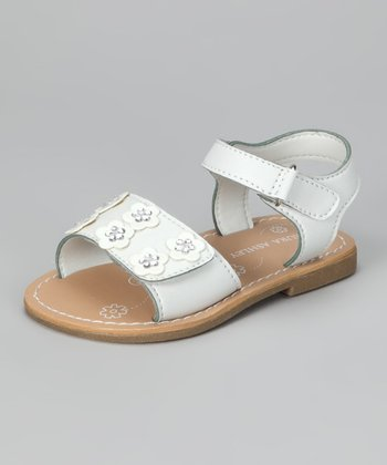 White Double Daisy Sandal