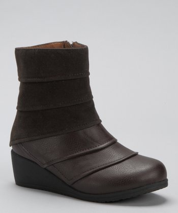 Brown Tiered Wedge Boot