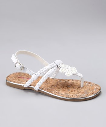 White Braid Flower Sandal