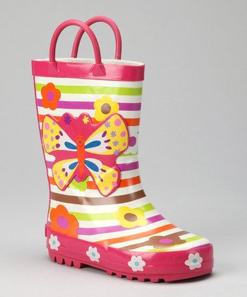 Pink & Lime Butterfly Rain Boot