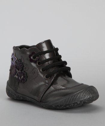 Black & Purple Scalloped Flower Shoe