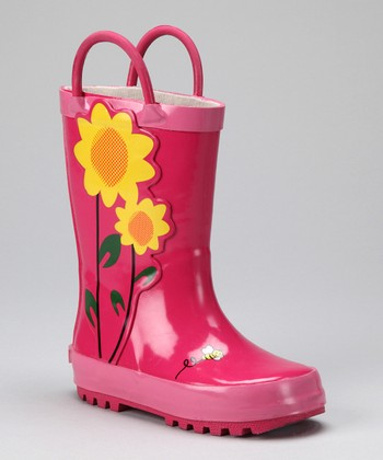 Fuchsia Sunflower Rain Boot