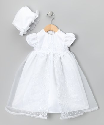 White Pearl Embroidered Dress & Bonnet