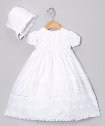 White Bow Pleated Dress & Bonnet - Infant