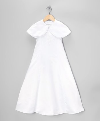 White Satin Dress & Shrug