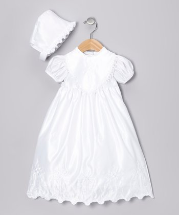 White Cross Dress & Bonnet - Infant