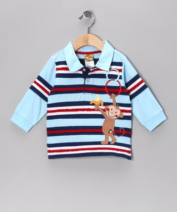 Dark Blue & Red Stripe Monkey Polo - Infant & Toddler