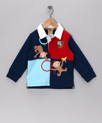 Navy & Red Monkey Polo - Infant & Toddler