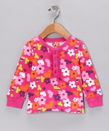 Pink Flower Long-Sleeve Henley - Infant & Toddler