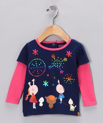 Navy Fireworks Layered Tee - Infant