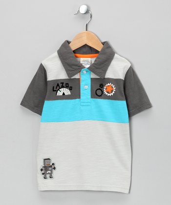Gray Robot Polo - Toddler & Boys