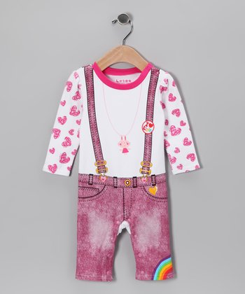 Pink Bunny Suspender Playsuit - Infant