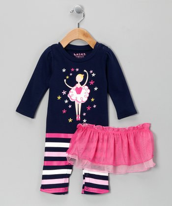 Navy Ballerina Playsuit & Skirt - Infant