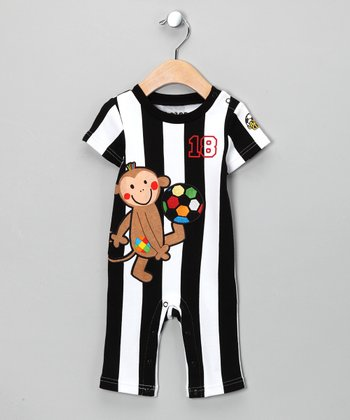 Black Stripe Monkey Soccer Playsuit - Infant