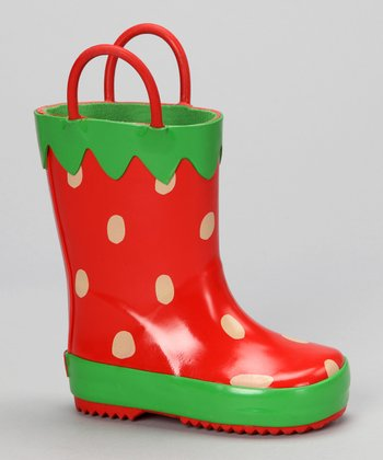 Red Strawberry Rain Boot