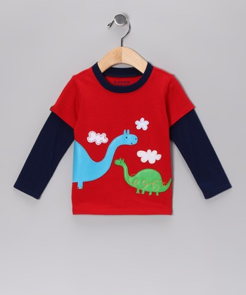 Red & Navy Dino Layered Tee - Infant & Toddler