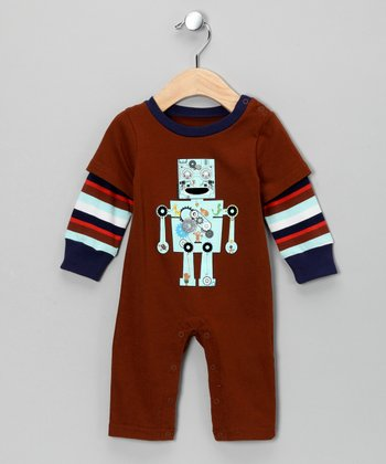 Brown Robot Playsuit - Infant