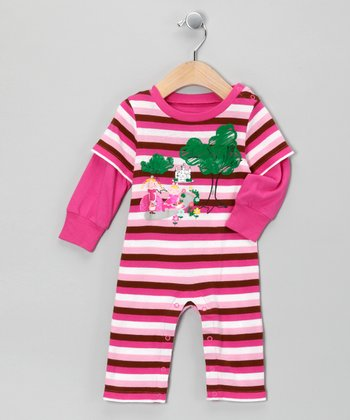 Pink Stripe Princess Layered Playsuit - Infant