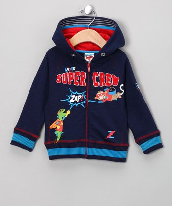 Navy Bobu Zooper Hero Zip-Up Hoodie - Toddler