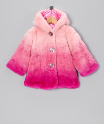 Lazoo Pink Ombre Faux Fur Coat - Infant & Toddler