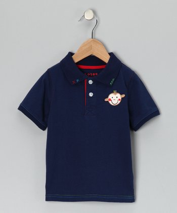 Navy Monkey Polo - Infant & Toddler