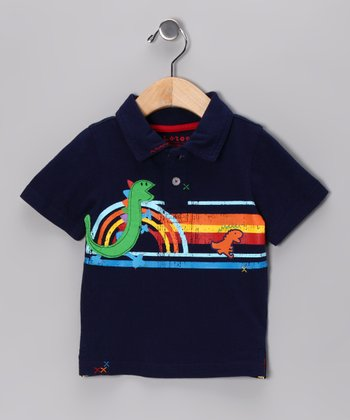 New York-Designed Navy Dino Polo - Infant