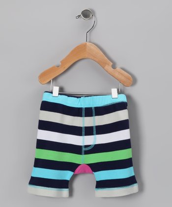 Aqua Stripe Butterfly Shorts - Infant & Toddler