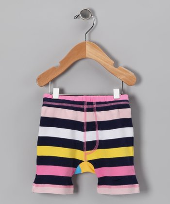 Yellow & Pink Stripe Giraffe Shorts - Infant & Toddler