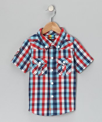 Red & Blue Plaid Western Button-Up - Infant & Toddler